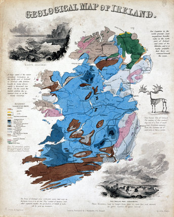 Geological map of Ireland, c 1855.
