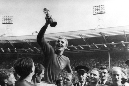 Bobby Moore holding the World Cup, Wembley, 1966.