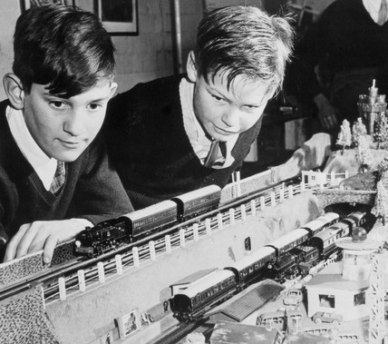 Barnardos boys with a train set, 1964.