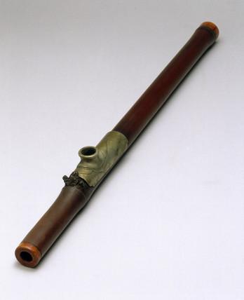 Bamboo opium pipe, 19th century. Bamboo o