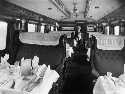 Interior of Midland first dining carriage, c 1920.