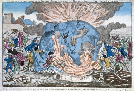 'The lamentable burning of Miolan and Janinet's aerostat', 11 July 1784.