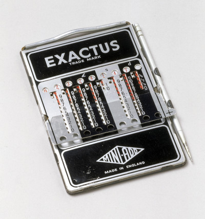 Exactus stylus-operated adding and subtracting device, 1955-1965.