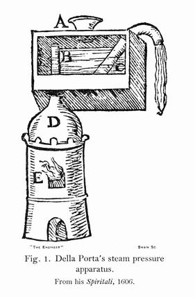 'Della Porta's steam presure apparatus', 1606.