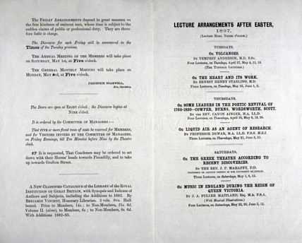 Royal Institution lecture programme, 1897.