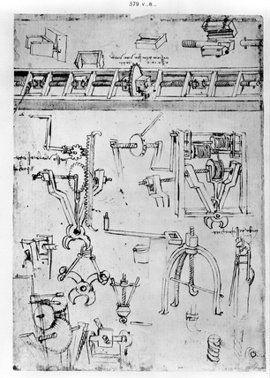 Design for tongs from Leonardo da Vinci's notebooks, 1470-1520.