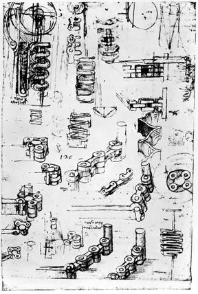 Design for articulated driving-chains by Leonardo da Vinci, 1470-1520.