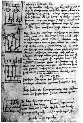 Designs for pulleys by Leonardo da Vinci, 15th century.