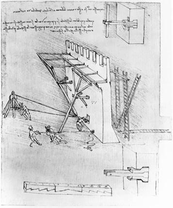 Leonardo's designs for device for overturning scaling ladders, c 1480s.