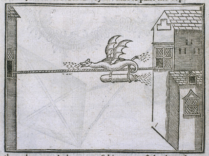 'Flying dragon' firework, 1635. Engraved pl