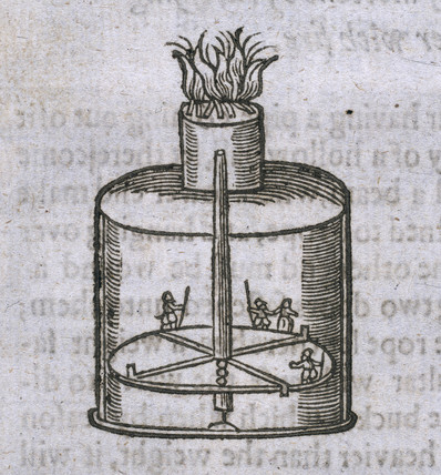 Early engraving of a zoetrope, 1635.