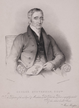 George Stephenson, English railway engineer, 1830-31.