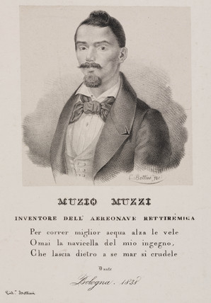 Muzio Muzzi, Italian balloonist, 1838.