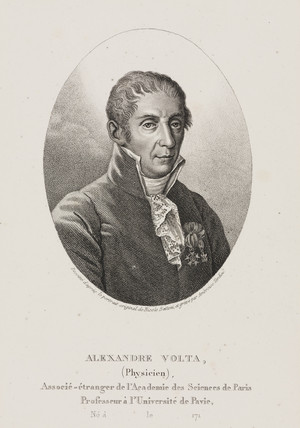 Alesandro Volta, Italian physicist and inventor, c 1800.