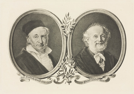 Carl Friedrich Gaus and Wilhelm Eduard Weber, 19th century.