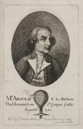Stuart Amos Arnold, English aeronaut, c 1785.