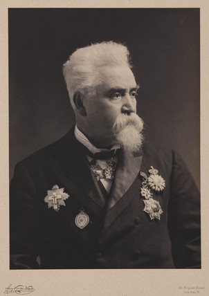 Sir Hiram Maxim, American engineer and inventor, c 1900.