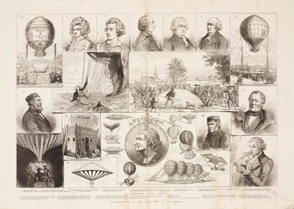 Illustrations of the centenary of ballooning, 1883.