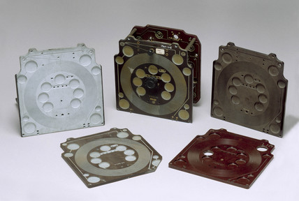 Group of component parts for Sargrove sprayed-circuit radio receivers, 1947.