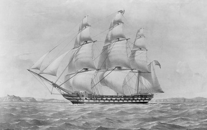 Lithograph of East Indiaman 'Earl of Balcarras', 1815.