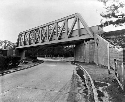 Bridge at Morden, South London, November 1933.