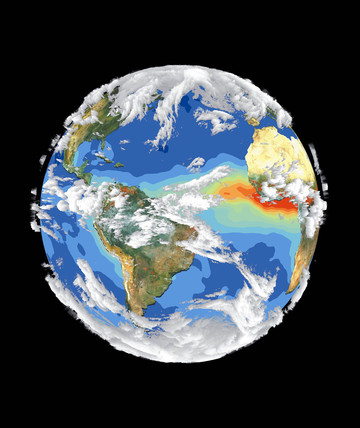 Composite satellite image of the Earth's environment, 1997.