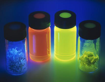 Light emitting polymer samples in UV light, October 2002.