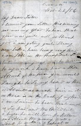 Letter from a soldier in the Crimea to his sister, 22 February 1856.