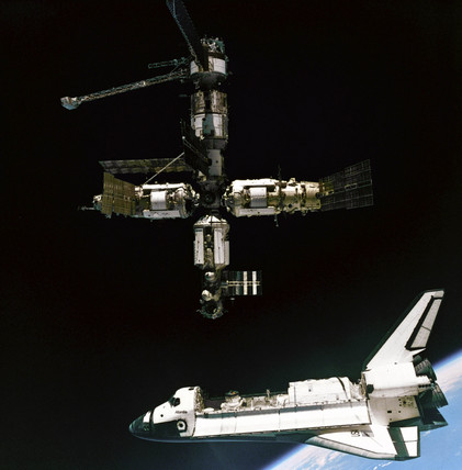 'Atlantis' departing Mir, 1995.