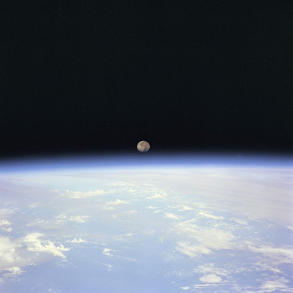 Moon set over Earth, 14 July 1995.