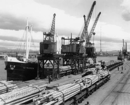 Grangemouth docks, Scotland, 1938.