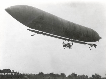 'Morning Star' 'Lebaudy' airship in flight, early 20th century.