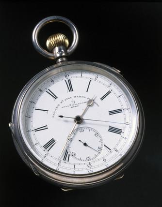 Spring-driven keyles stopwatch, 1890.