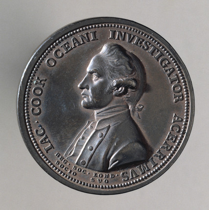 Medal showing Captain James Cook , 1770-1780.