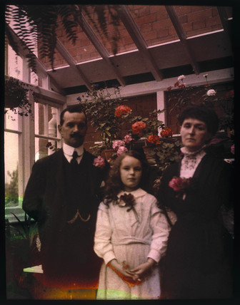 Autochrome of Hugh, Ethel and Kathleen in the Greenhouse,  c 1910.