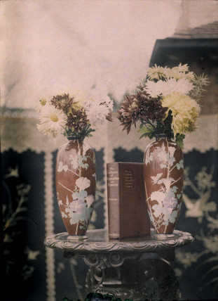 Autochrome of two red Chinese vases  with flowers and a book, c 1910.