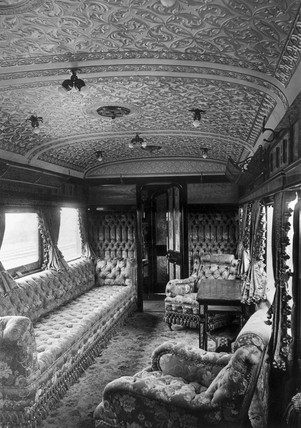LSWR royal coach interior, built 1885, rebuilt 1897.