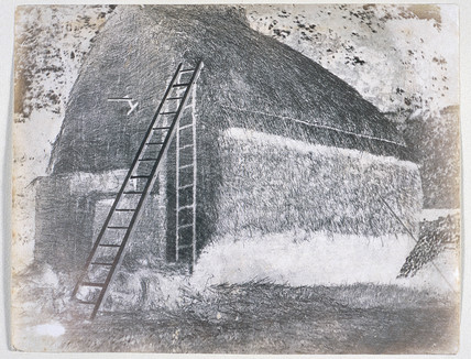 Talbot's calotype negative of 'The Haystack' c 1842.