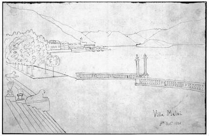 Sketch of  Villa Metzi, 5 October 1833.