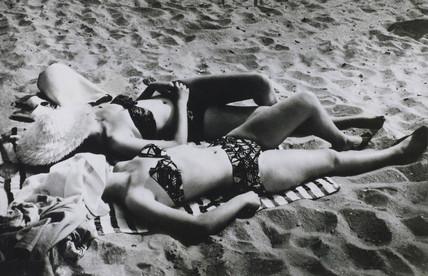 Sunbathers on a Belgian beach, January 1965.