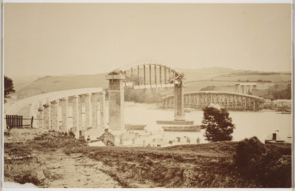 Royal Albert Bridge at Saltash, under construction in August 1858.