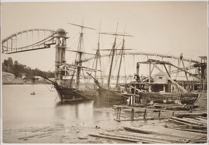 Royal Albert Bridge at Saltash under construction in spring 1858.