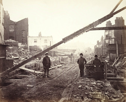 Building of the Metropolitan Railway, London, 1862.