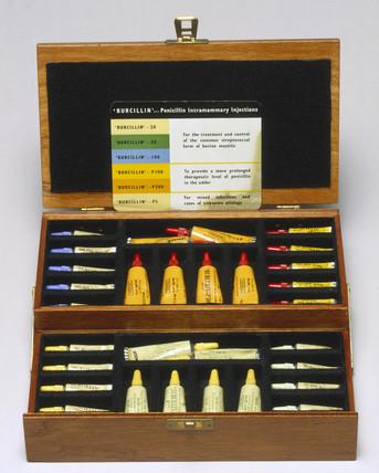 Tubes of penicillin in wooden case, c 1950s.