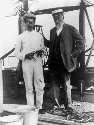 Samuel Pierpont Langley and Charles M Manly, American aviators, 11 April 1890.