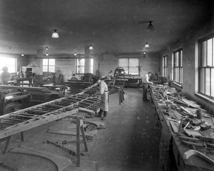 Workers in the patternmakers' shop, Langley Research Center, June 1922.