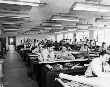 Interior View of Drafting Room, NACA, USA, 21 September 1942.