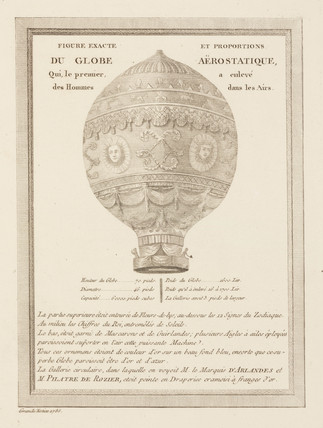 'Exact and proportional drawing of the aerostatic Globe', 1783.