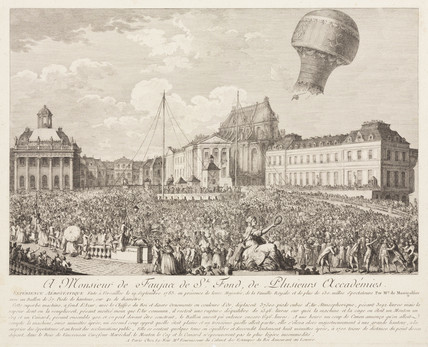 Ascent of a Montgolfier Balloon at Versailles, 19 September, 1783.