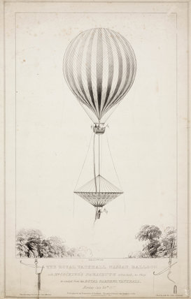 'The Royal Vauxhall Nasau Balloon with Mr Cocking's Parachute', 1837.
